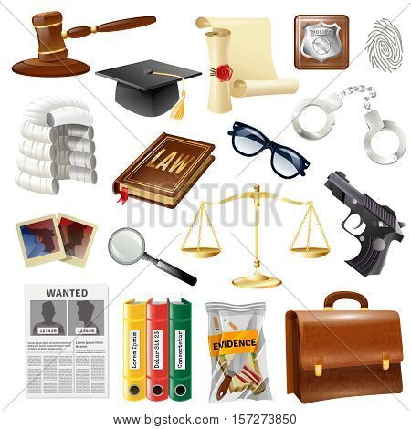 Law and justice objects symbols collection  with attorney briefcase handgun crime evidence and balance isolated vector illustration