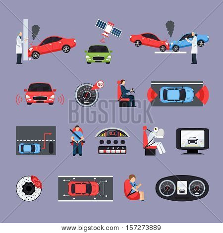 Car safety systems icons set with crash test symbols flat isolated vector illustration