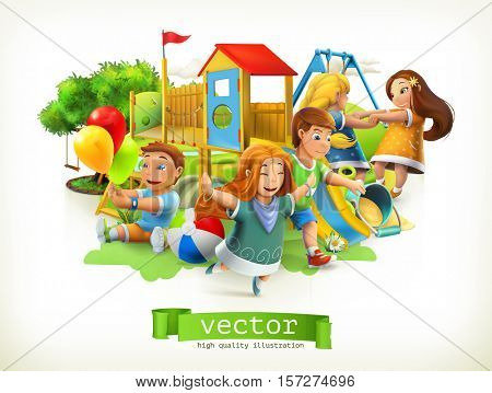 Park, kids playground. Outdoor games. 3d vector illustration