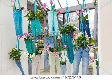 Lisse, Netherlands - April 4, 2016: Floristic decor elements in dutch park spring garden