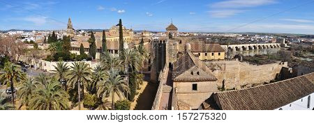panoramatic view ofStone walls and towers of the Alcazar de los reyes cristianos in Cordoba. Spain. Andalusia.