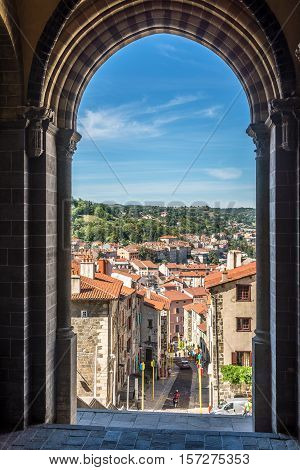 View from cathedral Notre Dame de Puy in Le Puy en Velay