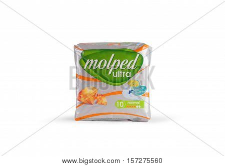 CHISINAU MOLDOVA - November 18. 2016 Pack of 10 Molped Ultra Sanitary Pads on a white background.