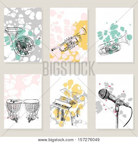 Set of musical artistic illustration concept. Art music, greeting card or invitation design background.