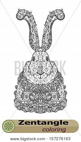 Long-eared bunny Zentangle. The personification of the holiday