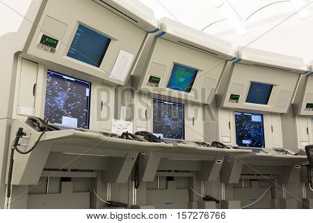 Sofia, Bulgaria - September 12, 2016: Air traffic control station (work place) in the flight control tower at Sofia's airport. Air traffic control directs aircraft on the ground and through controlled airspace.