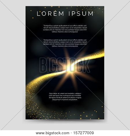 Abstract brochure flyer template with comets and stars vector
