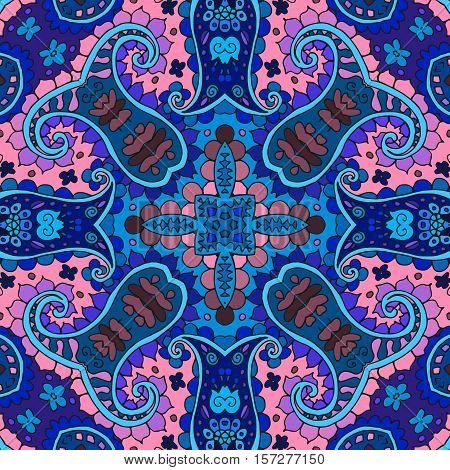 Detailed floral and paisley seamless pattern in pink and blue tones. Vector medieval background. Bandana print. Lovely tablecloth. Pillowcase.