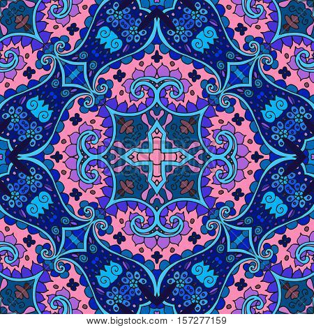 Detailed Floral And Paisley Seamless Pattern. Vector Medieval Background. Bandana Print. Lovely Tabl