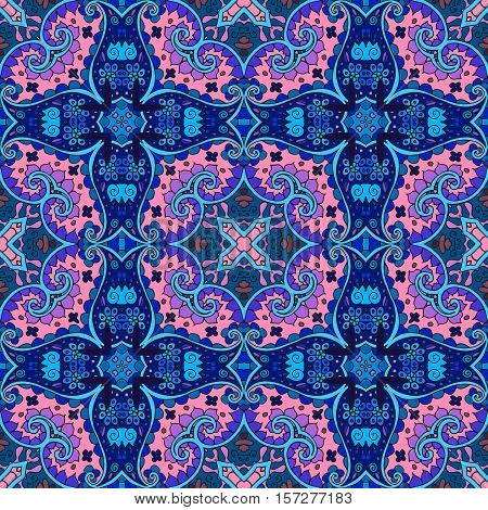 Detailed floral and paisley seamless pattern in pink and blue tones. Vector background. Bandana print. Lovely tablecloth.