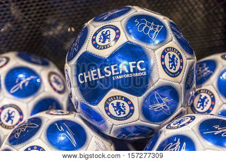 London, the UK - May 2016: Balls with FC Chelsea emblem in the store at  Stamford Bridge stadium