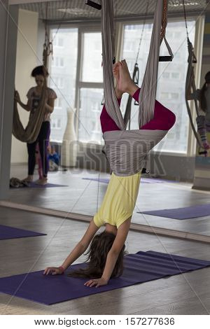 Aerial yoga practicing - anti gravity with scarves.