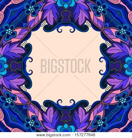 Beautiful frame from flowers and leaves with curls in blue and purple colors.