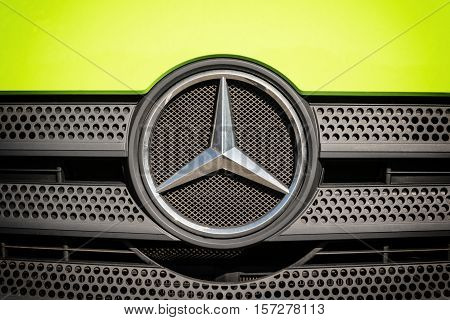 STUTTGART GERMANY - OCT 02 2015: Mercedes-Benz is a global automobile manufacturer and a division of the German company Daimler AG. The brand is known for luxury vehicles buses coaches and trucks. Stuttgart October 02 2015