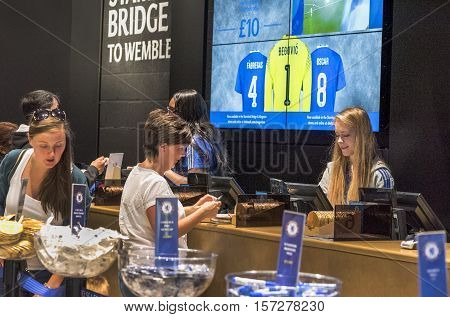 London, the UK - May 2016: in the official store at Stamford Bridge stadium - the official  playground  of FC Chelsea