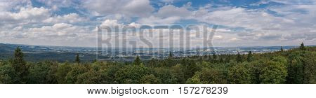 Panoramic view in Bielefeld Herford Porta Westfalica Detmold and the Teutoburg Forest in Germany.