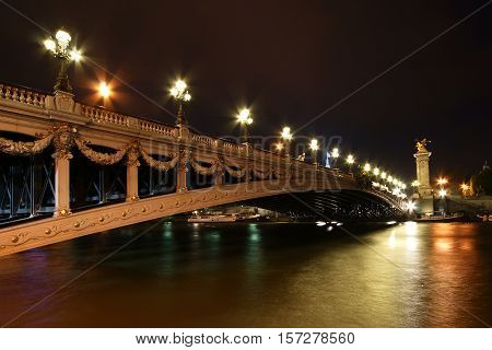 The Alexander Iii Bridge At Night - Paris, France