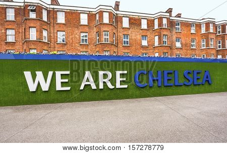 London, the UK - May 2016: Visiting Stamford Bridge stadium  - the official playground  of FC Chelsea