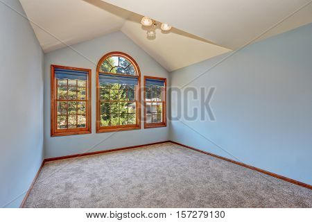 Empty Blue Room In Old American House