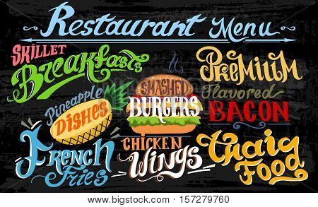 Retro vintage style fast food design lettering. Set of Calligraphic titles and symbols for foods. Hand lettering style. French Fries, Hamburger, Cheeseburger and Chicken wings realistic illustrations.