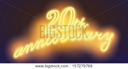 20 years anniversary vector illustration banner flyer logo icon symbol sign. Graphic design element with electric light font for 20th anniversary birthday card