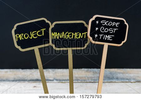 Concept Message Project Management - Scope, Cost, Time