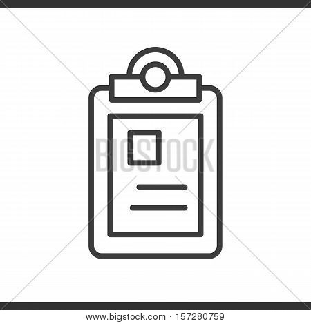 Police file linear icon. Thin line illustration. Vector isolated outline drawing.