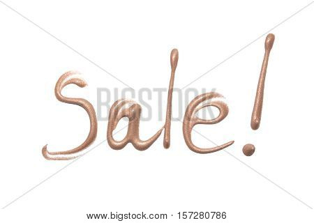 Sale sign. Liquid foundation on white background. Foundation with shimmer isolated. Makeup base.