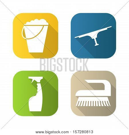 Equipment for cleaning flat long shadow icons set. Bucket with foam, brush, glass cleaning spray, tool for window cleaning. Isolated vector illustration
