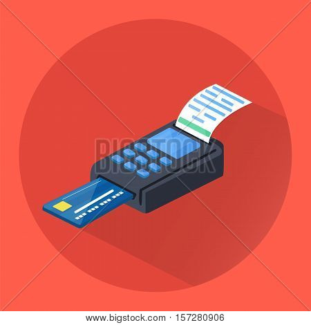 POS terminal icon. Isometric illustration of POS terminal. Vector.