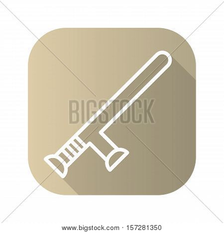 Police baton flat linear long shadow icon. Vector line symbol