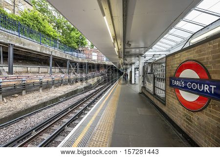 London, the UK - May 2016: Earl's court metro city station
