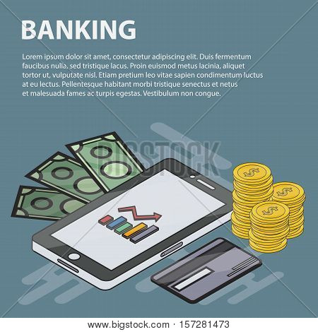 Vector thin line design isometric banner of banking for websites. Business concept of marketing, economy, finance and e-commerce. Set of isometric banking elements and objects.