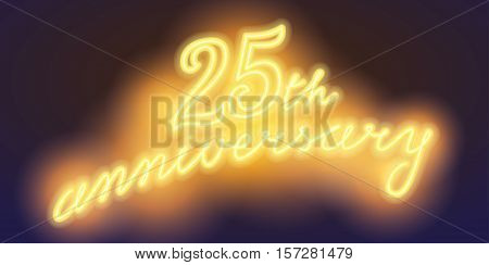25 years anniversary vector illustration banner flyer logo icon symbol sign. Graphic design element with electric light font for 25th anniversary birthday card