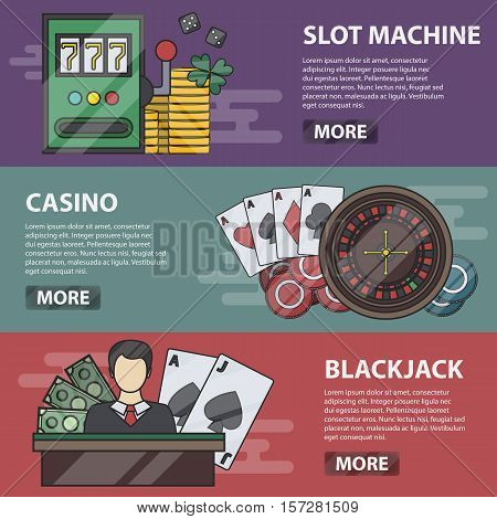 Vector thin line design horizontal banners of slot machine, casino and blackjack. Business concept of money game, poker, online gambling and passion. Set of casino elements.