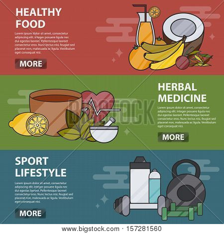 Vector thin line design horizontal banners of healthy food, herbal medicine and sport lifestyle. Business concept of alternative medicine and healthcare, naturopathy, homeopathy, bio and eco food.