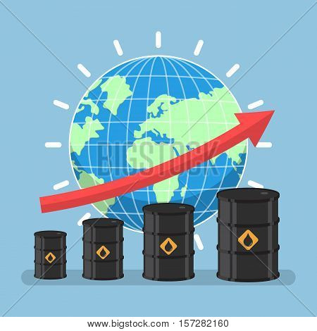 Oil Barrels And Growth Graph With Wolrd On Background