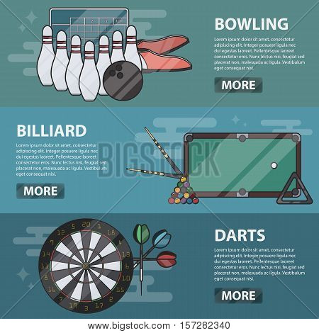 Vector thin line design horizontal banners of bowling, billiard and darts. Business concept of sport games. Set of isolated bowling equipment and snooker elements.