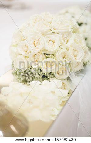 Wedding Biedermeier Bouquet on the White Table