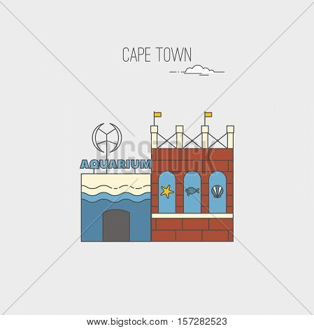 Two Oceans Aquarium in Cape Town. Republic of South Africa country design template. Historic buildings landmarks sightseeings showplaces symbols. Vector line cartoon style illustration