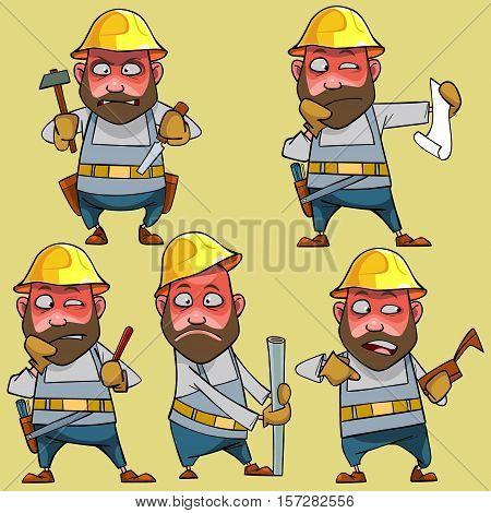 cartoon disgruntled worker in the helmet in various poses