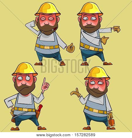 cartoon puzzled worker in the helmet in various poses