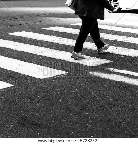 The Men walking on zebra crossing street.