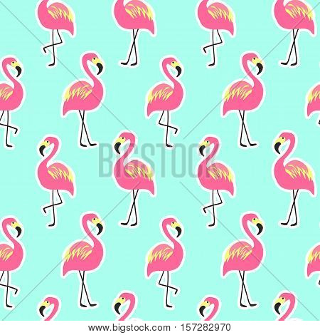 Beautiful seamless pattern with pink flamingo on mint pineapple background, trendy fashion textile print, pop art vector design. Retro 80s style