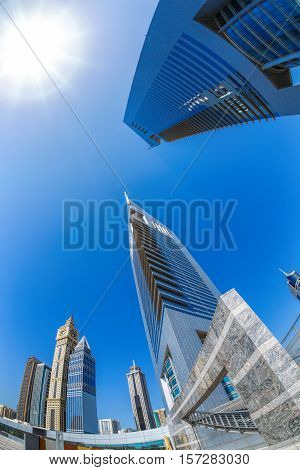 Futuristic Architecture In Dubai, Emirate Towers, United Arab Emirates