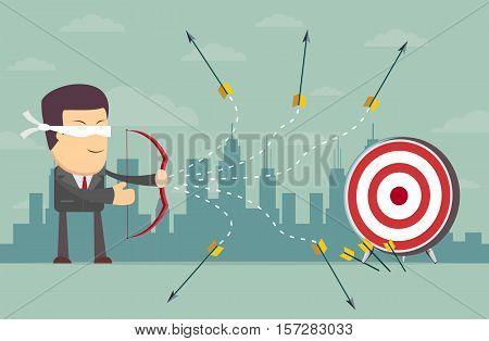 Blindfold businessman - loser shooting arrow . Stock vector illustration