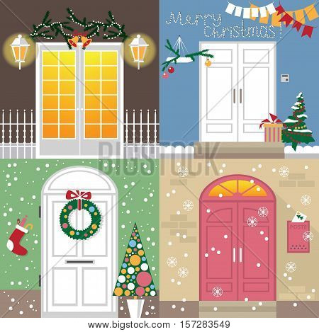 illustration of different doors are decorated with new year and Christmas