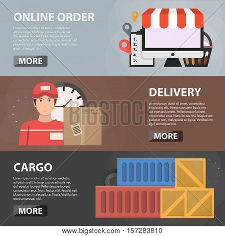 Vector flat horizontal banners of online order, delivery and cargo for websites. Business concept of logistics, transportation, online shopping and e-commerce. Set of delivery objects.