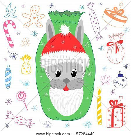 Cute Bunny's Head in Santa Claus Hat with Beard. Children Drawings of Christmas Elements. Cartoon Hare Candies Gifts and Stars. Vector Illustration.