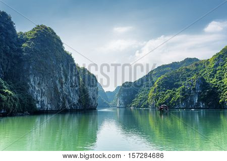 Scenic View Of Lagoon In The Ha Long Bay, Vietnam